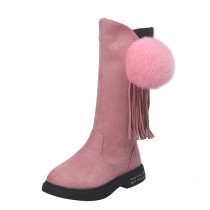 Kid Girl Suede Pompom Tassels Tall Boots
