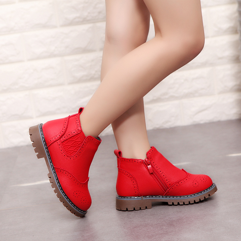 Kid Girl Embossed PU leather Martin Ankle Boots