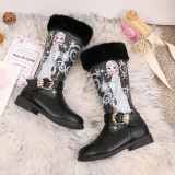 Kid Girl Sequins Frozen Princess Faux Fur Add Wool PU Leather Tall Boots