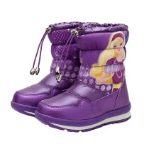 Kid Girl Cartoon Princess Add Wool Thicken Fluff Waterproof Winter Warm Snow Boots