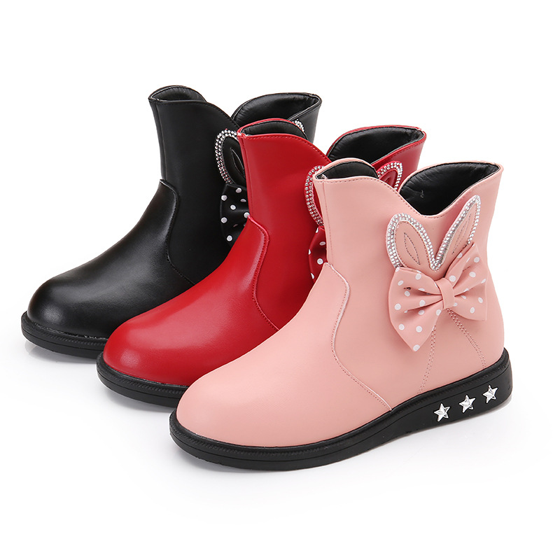 Kid Girl Dots Rabbit Ear Bowknet Add Wool PU Leather Short Boots