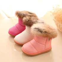 Kid Toddler Girl PU Leather Plush Faux Fur Snow Boots