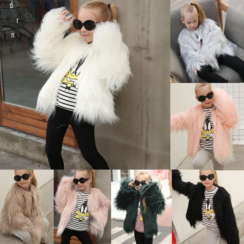 Toddler Kids Girl Plush Faux Fur Thick Warm Coats Outerwears