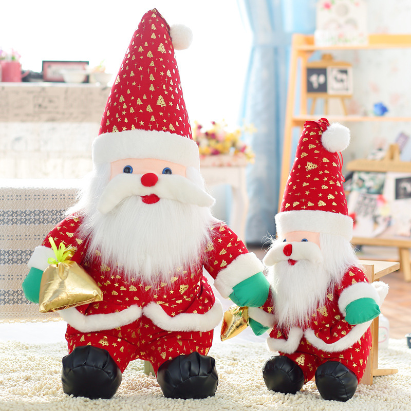 Santa Claus Gold Christmas Trees Soft Stuffed Plush Doll for Kids Gift