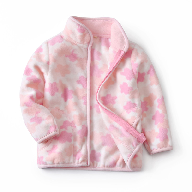 Toddler Kids Girl Polar Fleece Prints Flowers Zipper Jacket Outerwear Coats