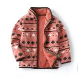 Toddler Kids Girl Polar Fleece Prints Geometric Hearts Snowflake Dots Zipper Jacket Outerwear Coats