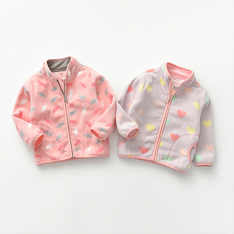 Toddler Kids Girls Polar Fleece Prints Hearts Candy Full Zipper Jacket Outerwear Coats