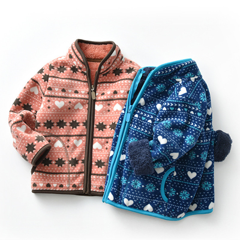 Toddler Kids Girl Polar Fleece Prints Geometric Hearts Snowflake Dots Zipper Jacket Outerwear Coats