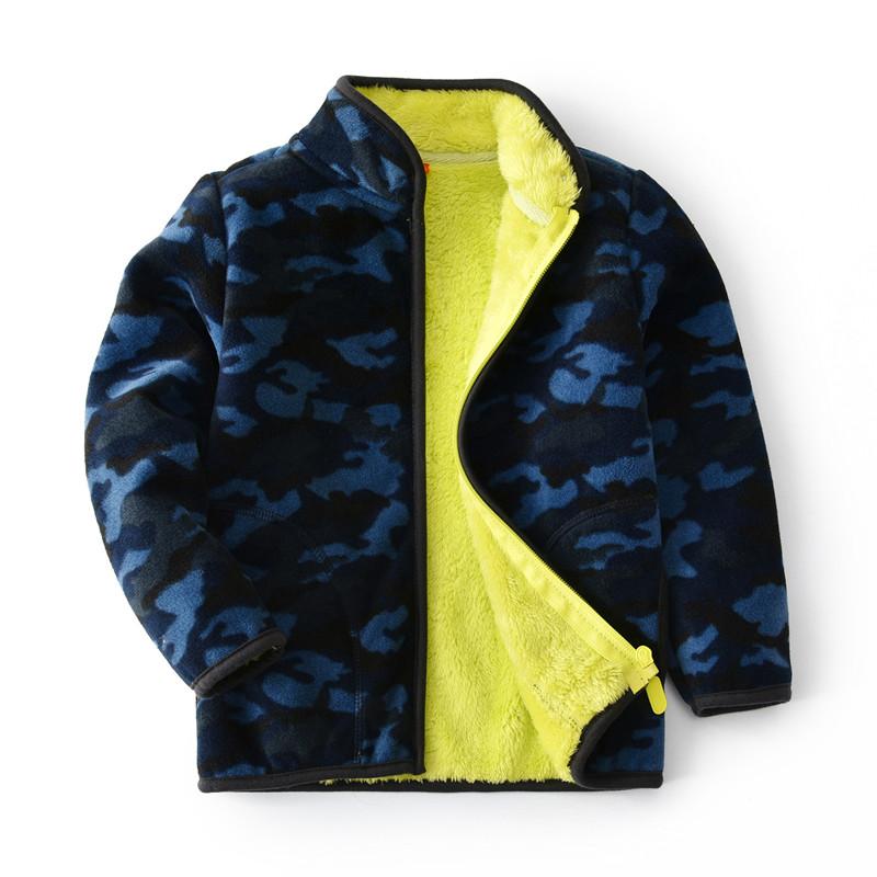 Toddler Kids Boy Polar Fleece Navy Camouflage Full Zipper Jacket Outerwear Coats
