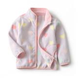 Toddler Kids Girls Polar Fleece Prints Hearts Candy Full Zipper Jacket Outerwear Coats