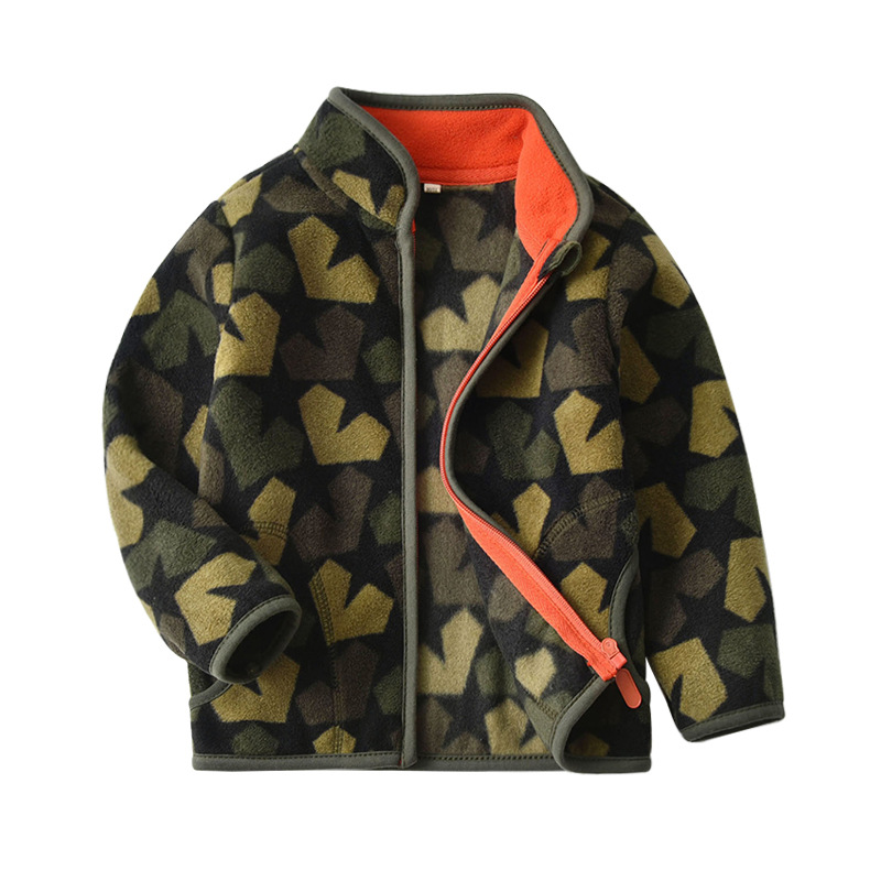 Toddler Kids Boy Polar Fleece Prints Camouflage Full Zipper Jacket Outerwear Coats