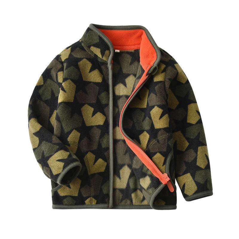 Toddler Kids Boy Polar Fleece Prints Camouflage Full Zipper Jacket Outerwear Coats