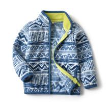 Toddler Kids Boy Polar Fleece Triangle Geometric Figure Full Zipper Jacket Outerwear Coats