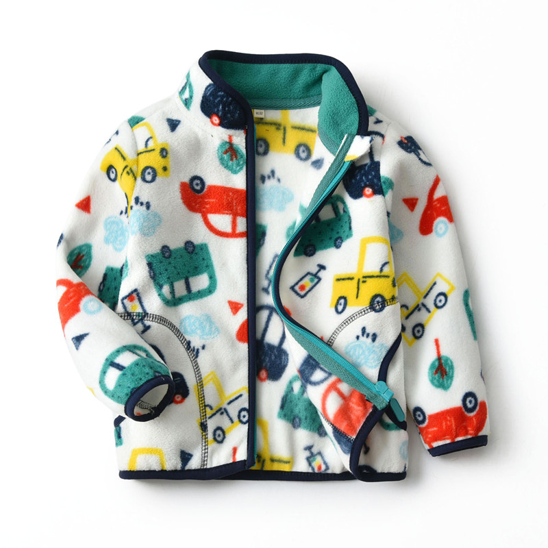 Toddler Kids Boy Polar Fleece Prints Colorful Cars Full Zipper Jacket Outerwear Coats