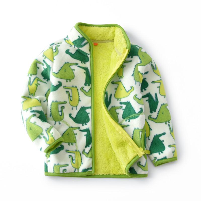 Toddler Kids Boy Polar Fleece Prints Crocodiles Full Zipper Jacket Outerwear Coats