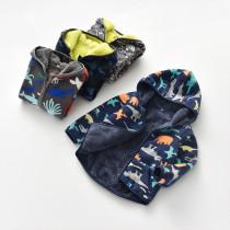 Toddler Kids Boy Polar Fleece Dinosaurs Octopus Zipper Hooded Jacket Outerwear Coats