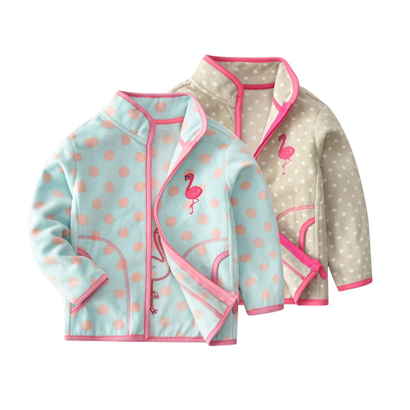 Toddler Kids Girl Polar Fleece Prints Flamingos Dots Zipper Jacket Outerwear Coats