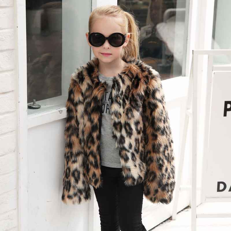 Toddler Kids Girl Faux Fur Leopard Print Thick Warm Coats Outerwears