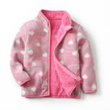 Toddler Kids Girls Polar Fleece Prints Hearts Leopard Full Zipper Jacket Outerwear Coats
