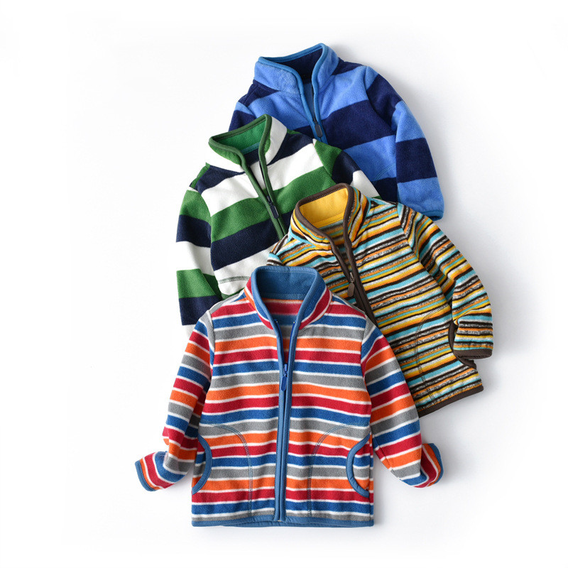 Toddler Kids Boy Polar Fleece Stripes Full Zipper Jacket Outerwear Coats