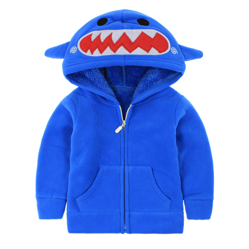 Toddler Kids Boy Polar Fleece Shark Frog Zipper Hooded Jacket Outerwear Coats