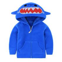 Toddler Kids Boy Polar Fleece Shark Frog Zipper Hooded Jacket Outerwear Coats