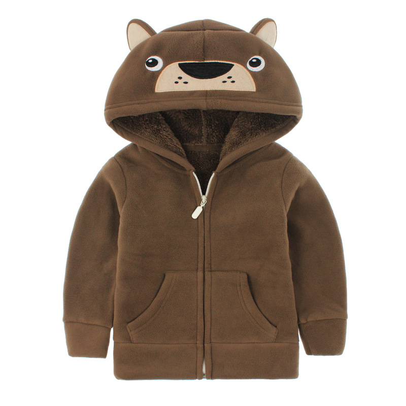 Toddler Kids Boy Polar Fleece Brown Bear Full Zipper Hooded Jacket Outerwear Coats