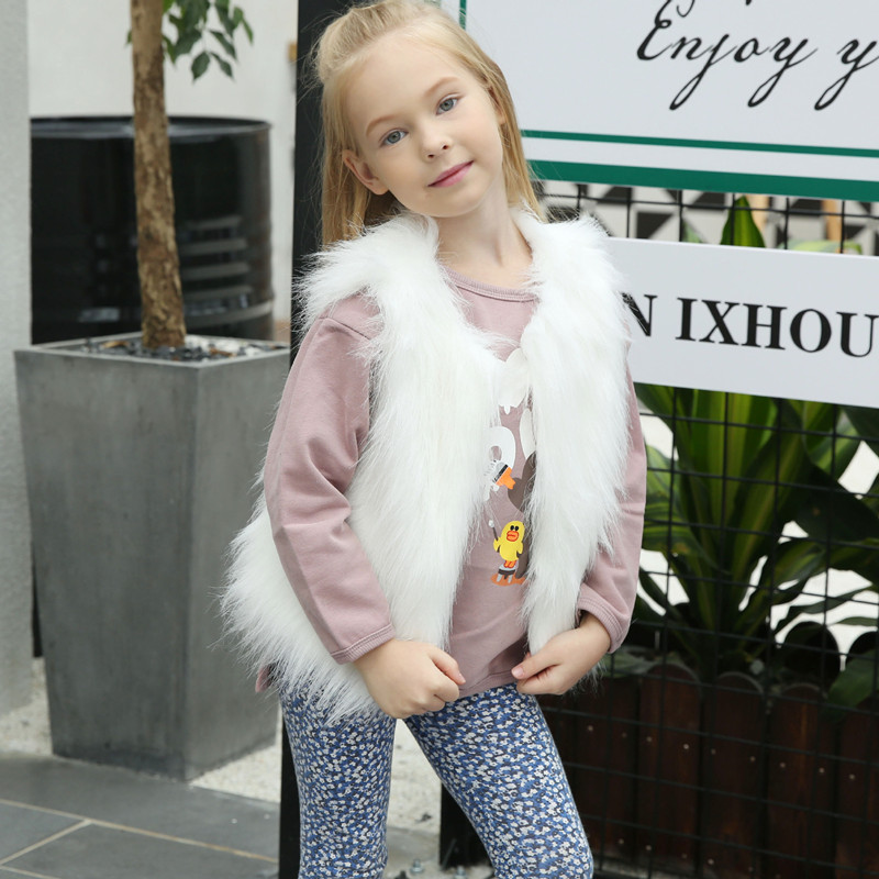 Toddler Kids Girl Plush Faux Fur Thick Warm Vest Coats Outerwears