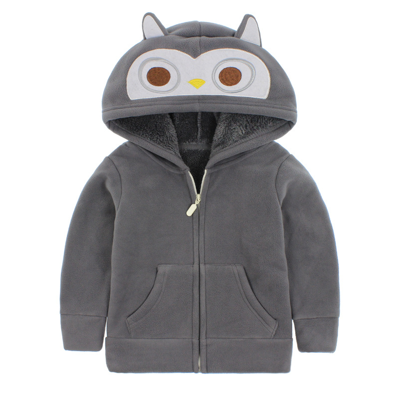 Toddler Kids Boy Polar Fleece Grey Owl Full Zipper Hooded Jacket Outerwear Coats