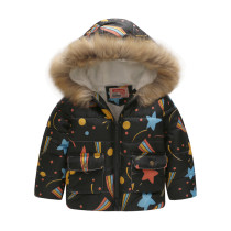 Toddler Kids Boy Sty Stars Cotton Padded Thicken Warm Fur Hooded Outerwear Coats