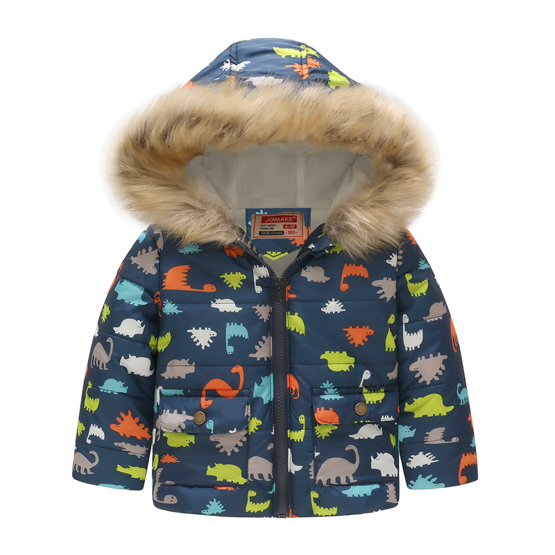 Toddler Kids Boy Dinosaur Cotton Padded Thicken Warm Fur Hooded Outerwear Coats