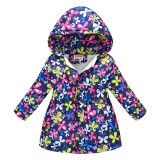 Toddler Kids Girl Butterfly Cotton Padded Thicken Warm Hooded Long Outerwear Coats