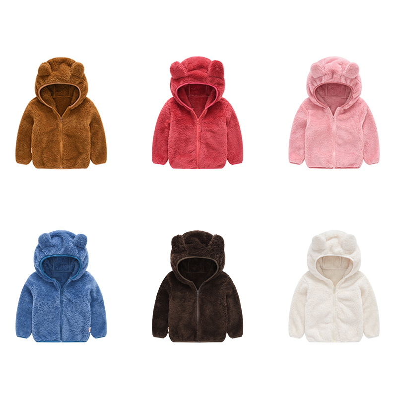 Toddler Kids Boy Girl Polar Fleece Cute Ears Hooded Zipper Outerwear Coats