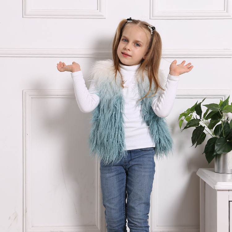 Toddler Kids Girl Plush Faux Fur Blue Ombre Thick Warm Vest Coats Outerwears