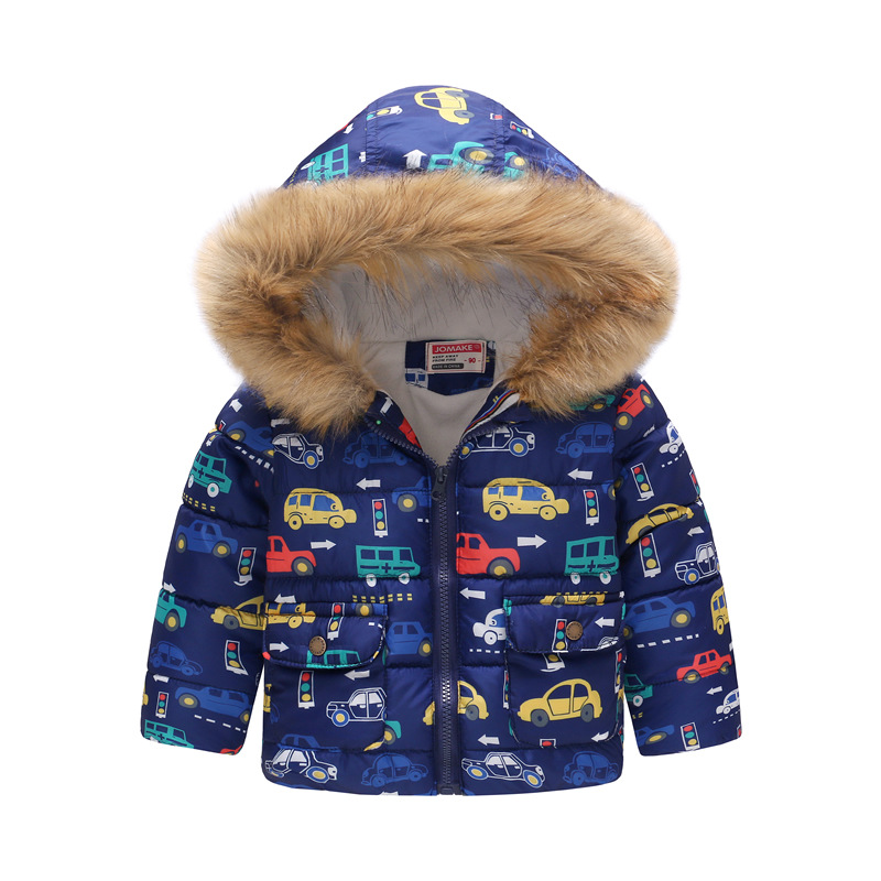 Toddler Kids Boy Cars Cotton Padded Thicken Warm Fur Hooded Outerwear Coats