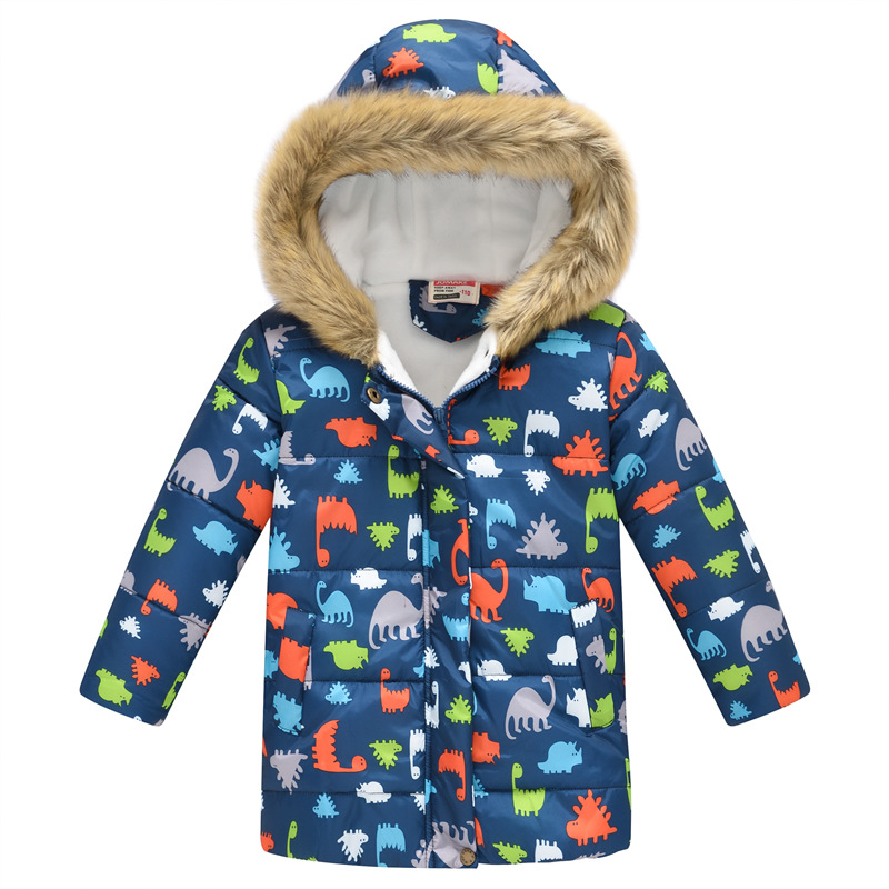 Toddler Kids Boy Dinosaurs Cotton Padded Thicken Warm Fur Hooded Long Outerwear Coats