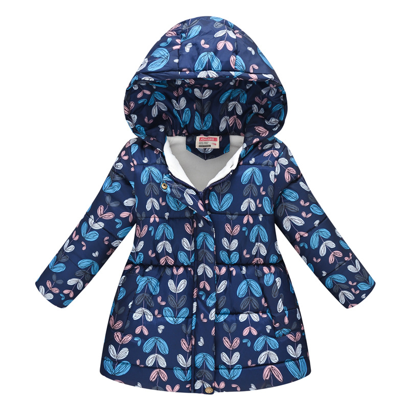Toddler Kids Girl Leafs Cotton Padded Thicken Warm Hooded Long Outerwear Coats
