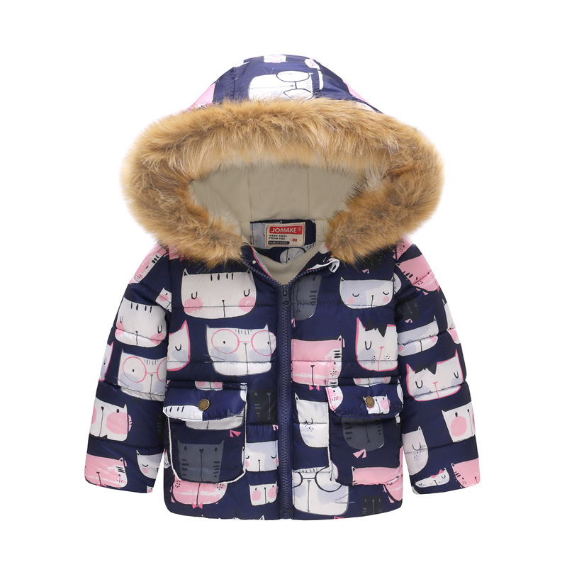 Toddler Kids Girl Cute Cats Hearts Cotton Padded Thicken Warm Fur Hooded Outerwear Coats