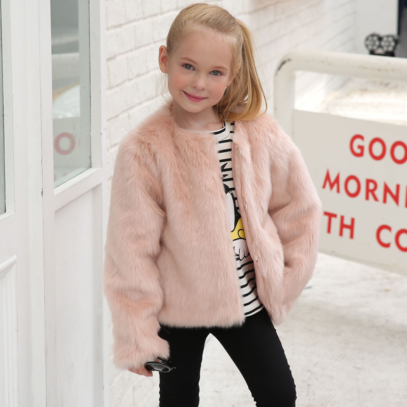 Toddler Kids Girl Pink Faux Fur Thick Warm Vest Coats Outerwears