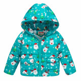 Toddler Kids Boy Girl Christmas Santa Claus Deer Cotton Padded Thicken Warm Hooded Outerwear Coats