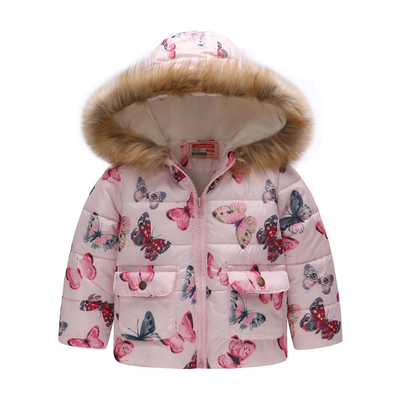 Toddler Kids Girl Butterfly Cotton Padded Thicken Warm Fur Hooded Outerwear Coats