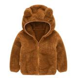 Toddler Kids Boy Girl Polar Fleece Cute Ears Hooded Zipper Outerwear Coats