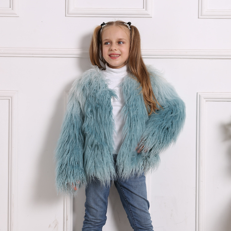 Toddler Kids Girl Plush Faux Fur Blue Ombre Thick Warm Coats Outerwears