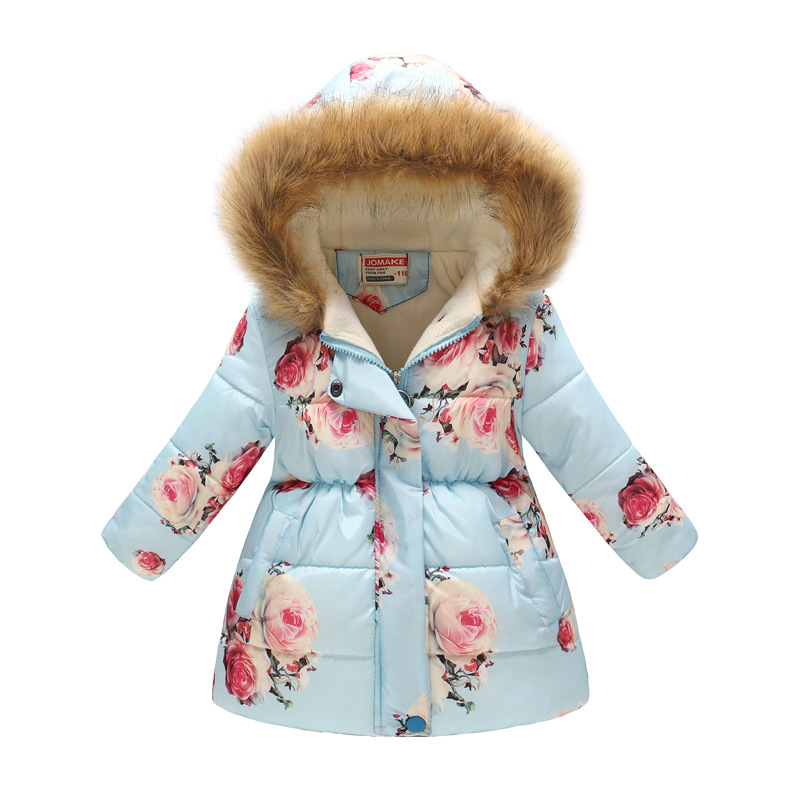 Toddler Kids Girl Flowers Cotton Padded Thicken Warm Fur Hooded Long Outerwear Coats