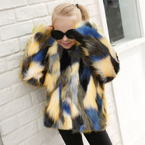 Toddler Kids Girl Colorful Stitching Plush Faux Fur Thick Warm Coats Outerwears