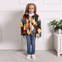 Toddler Kids Girl Plush Faux Fur 6 Colors Stitching Thick Warm Coats Outerwears