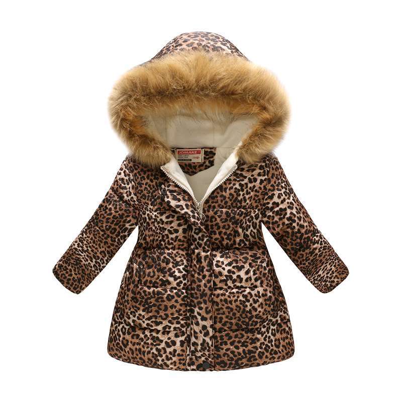 Toddler Kids Girl Leopard Print Cotton Padded Thicken Warm Fur Hooded Long Outerwear Coats