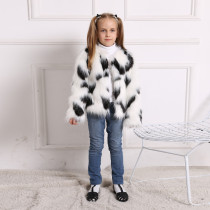 Toddler Kids Girl Plush Faux Fur White Black Matching Color Thick Warm Coats Outerwears