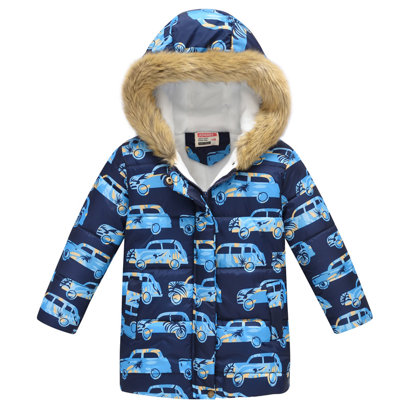 Toddler Kids Boy Cars Cotton Padded Thicken Warm Fur Hooded Long Outerwear Coats