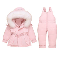 Baby Toddlers Duck Down Puffer Padded Thick Winter Outerwear Fur Hooded Coats With Overalls Pant